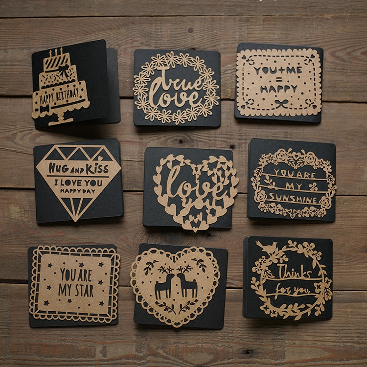 Sen element retro memories hollow greeting cards personalized greetings card secret language kraft kraft paper qualities