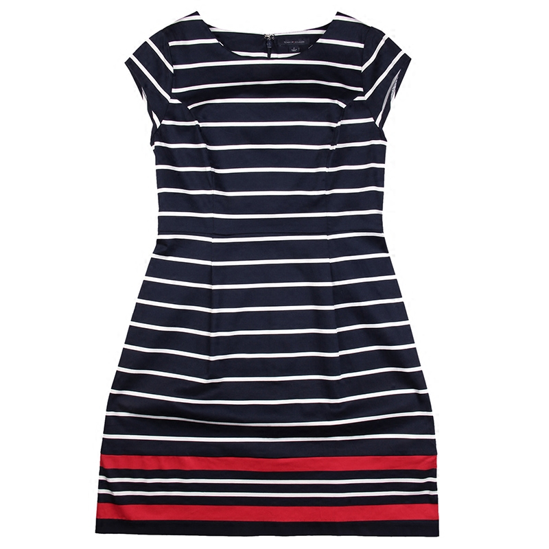 Spring and summer new tommy tommy HILFIGER2016 ladieswear ms. european and american minimalist striped sleeveless dress