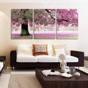 Triptych frameless painting wall painting mural paintings decorative painting the living room triple frameless decorative painting equipment love the place