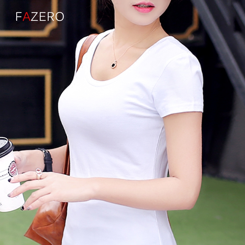 White summer new round neck compassionate black sleeve slim short sleeve t-shirt female wild cotton shirt bottoming shirt